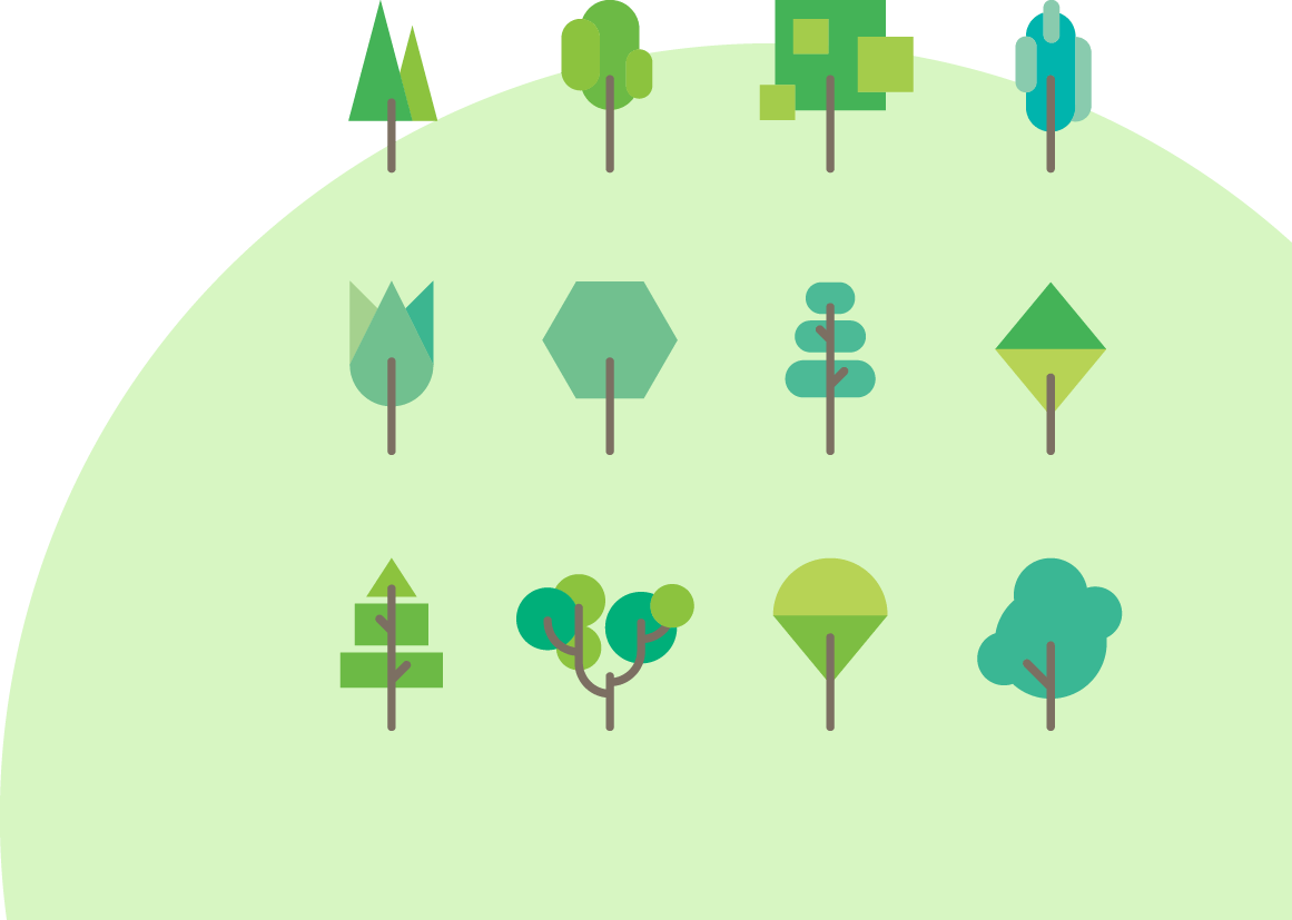 Decorative Green Circle with Tree Icons